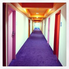 Saguaro Hotel in Palm Springs, CA - most beautiful use of colors- look at this hallway