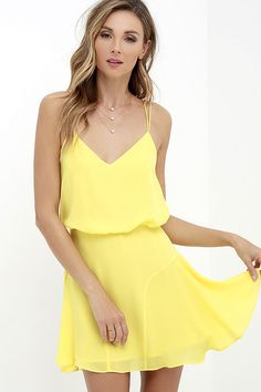 Why take a chance on anything else, when the Wanna Bet? Yellow Sleeveless Dress is a surefire win?! Lightweight Georgette swings from dual spaghetti straps into a billowy triangle bodice with back slit. Curving seams contour the flaring skirt for a twirl-able finale. Hidden back zipper.