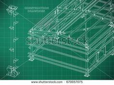 Building. Metal constructions. Volumetric constructions. 3D design. Abstract Cover, banner. Light green. Grid  #bubushonok #art #bubushonokart #design #vector #shutterstock  #technical #engineering #drawing #blueprint   #technology #mechanism #draw #industry #construction #cad