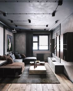 What do you think about this color scheme? Mini Loft is des… Interior Design Examples, Industrial Interior Design, Interior Design Inspiration, Home Interior Design, Interior Architecture, Industrial Interiors, Rustic Industrial, Modern Apartment Design, Industrial Apartment