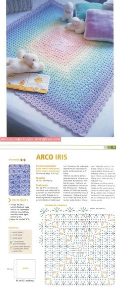 Rainbow blanket reverse :-) . . . . ღTrish W ~ http://www.pinterest.com/trishw/ . . . . #crochet #afghan #throw