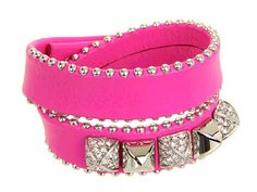 Style Double leather wrap Bracelet with paved gold studs. Super cute wrap leather with gold studs details. Color Gold plated with bombshell pink leather. Material Brass with gold plated & genuine leather. Juicy Couture Jewelry, Scarf Jewelry, Crystal Bracelets, Bracelet Designs, Pink Leather, Fashion Bracelets, Jewelry Design, Crystals, Skinny