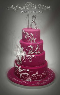 Beautiful girl's birthday cake I would just use the top two tiers! Beautiful!