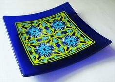 Fused glass pattern bar plate.