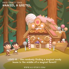 Part 2 of 12 from the mini fairy tale series drawn for the 2019 Calendar: Once upon a time (Sold out) Love is… like randomly finding a magical candy house in the middle of a magical forest! Cartoon Love Quotes, Cute Couple Cartoon, Cute Cartoon Characters, Cute Couple Art, Cute Love Cartoons, Hj Story, Cute Bear Drawings, Cute Girl Drawing, Ah O Amor