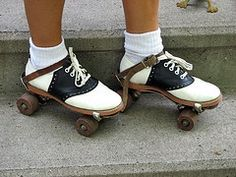 Metal skates strapped onto our shoes!