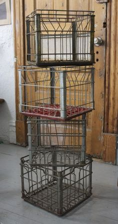 Vintage Wire Milk Crates: Set nearby with Wine. Vintage Industrial, Industrial Style, Vintage Decor, Antique Decor, Vintage Toys, Vintage Style, Metal Milk Crates, Milk Pail, Wire Crate