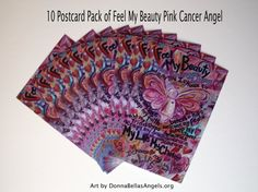 Feel My Beauty Cancer Poem Pink Angel Art Painting -10 Postcards Pack