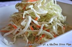 I have always loved cole slaw, but until my celiac diagnosis, the only cole slaws I had ever tried were doused in a creamy (and not so healthy) dressing.  About a year ago, I found a recipe on Eating Well Magazine's website for cole slaw that I absolutely fell in love with, and the best part, it