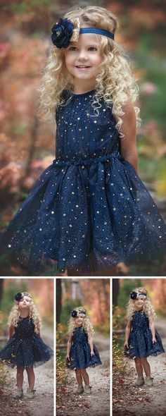 This dress is stunning with its gathered elastic waist that helps to accentuate the beauty of the full skirt. Sparkly, gold stars adorn the tulle used to overlay the entire dress. SHOP girls clothing for weddings at http://thinkpinkbows.com/products/navy-start-dress | Flower Girls Dresses | Kids Fashion