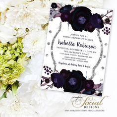 Fall Autumn Deep Plum and Navy Flowers Silver Glitter Polka Dots Bridal Shower Invitation Printable