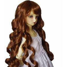 """[wamami] 97# Brown Long Wavy Wig For 1/3 SD AOD DOD DZ BJD Dollfie 8""""-9"""""""