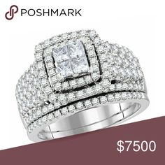 14K White Gold Wedding Ring 2.00ctw Princess Cut D 14K White Gold Wedding Ring 2.00ctw Princess Cut Diamonds Wide Ring Jewelry Rings