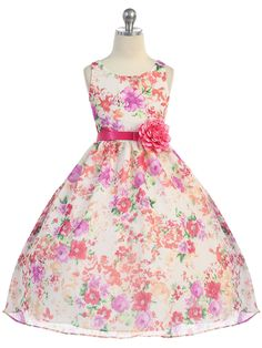 Gorgeous Fuchsia Flower Print Chiffon Dress with Satin Sash