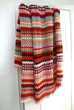 Stripey Wool Crochet Blanket 200 cm x 230 cm. by rocketandbear