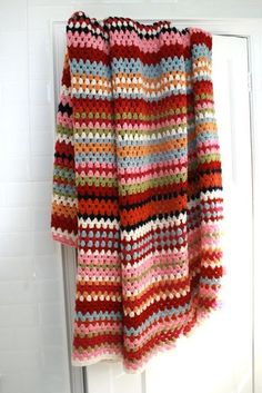 Stripey Wool Crochet Blanket 200 cm x 230 cm. by rocketandbear