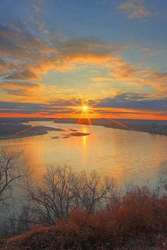Sunset Over Missouri River in South Dakota