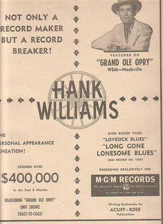 Hank Williams 1950 Ad
