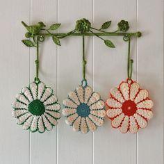 Vintage Crochet Potholder  YOU PICK green blue or red by JCasaSHOP, $7.50