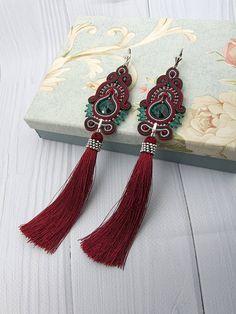 Dark Red Green Tassel Earrings Statement Dangle Boho Chic