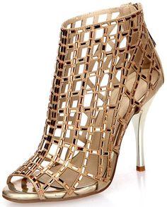 Littleboutique Embellished Cutout High Heel Bootie Rhinestone Studded Sandal Heels Dress Sandal gold 9.5