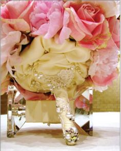 My Pink Peonies and Roses Bouquet :  wedding bouquets lambs ear peonies pink roses sweet peas Bouquet Bottom