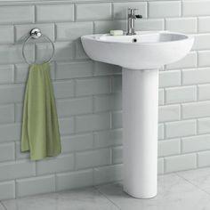 Crosby Basin & Pedestal - Single Tap Hole [PT-CB613FPB] - £99.99 : Platinum Taps & Bathrooms