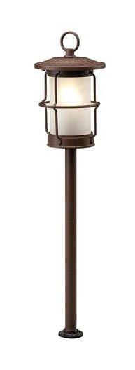 Applique Murale Forge Fer Verre Blanc Marron 1x60w Rustique Maison de Campagne