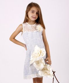 Another great find on #zulily! Blue & Crème Lace & Tweed Dress - Toddler & Girls #zulilyfinds