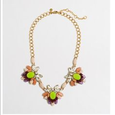 """J Crew Multicolor Floral Necklace Beautiful necklace from J. Crew NWT / Never worn / Comes with the original tag and jewelry pouch. Zinc casting, glass and epoxy stones, steel chain. Light gold ox plating. Length: 18"""" with a 3"""" extender chain for adjustable length. Original $64.50 + tax. J. Crew Jewelry Necklaces"""