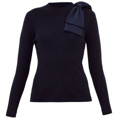 Ted Baker London Nehru Bow Detail Ribbed Sweater - Dark Blus Ribbed  Sweater 897f56f8f7b4d