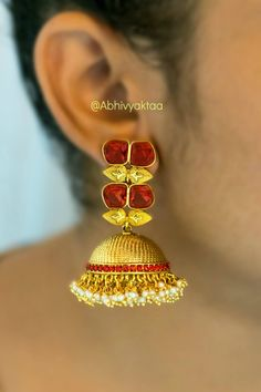These Red Leaf Jhumkha Earrings Are Made Of Brass And Embellished With Stone Work & Pearl Work. Pair Your Traditional Or Western Look With These Earrings By Designer Abhivyaktaa Makes This Piece Perfect For Ethnic Outfits.