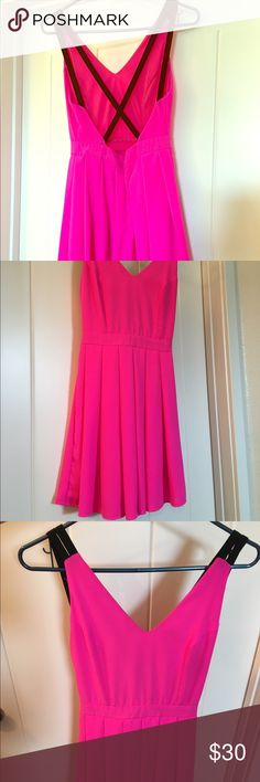 Vegas or Bachelorette Backless dress Beautiful and fun bright pink backless dress!!! Worn once for a bachelorette party! No stains or flaws! Open to offers! Love & EvoL Dresses Backless