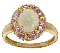 Smithsonian Australian Opal & 1.15 ct tw Sapphire Ring 14K Gold Absolutelty gorgeous.
