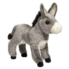 """11"""" Elwood the stuffed Donkey in a very realistic multi toned plush is just too cute! Perfect for imaginative play and cuddling! - Ages: 24 Months & Up - Washing Instructions: Machine Douglas Toys mak"""