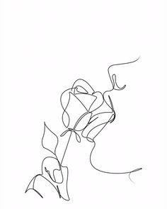 Rose Lick - Abstract Line Art - Minimalist Art - Line Drawing - #Abstract #Art #digital #Drawing #Lick #Line #Minimalist #rose Minimalist Drawing, Minimalist Art, Line Art Flowers, Flower Art, Art Sketches, Art Drawings, Line Drawing Art, Design Rosa, Abstract Line Art