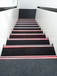 Stairs installed with Carpet tiles and aluminum retro stairnosing trims. Interior Decorating, Interior Design, Carpet Tiles, Stairs, Retro, Projects, Inspiration, Home Decor, Nest Design