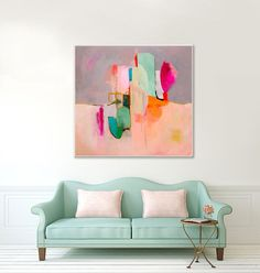 Large ABSTRACT PAINTING Pink abstract art fine por SarinaDiakosArt