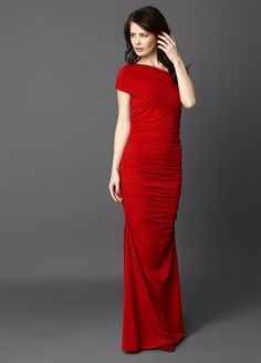 Maxi cocktail dress in red