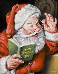 Santa's Christmas List, Oil on Canvas, 16 x 20
