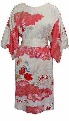 Clouds Vintage Kimono Dress