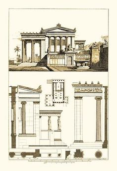 Erechtheum Athens : Plan, Elevation, Section