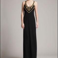 Temperley London Long Jaguar Dress 10 NWT Temperley London Black with Golden Sequins Long Jaguar Dress.  Silk & Delicate Embroidery make this dress stunning for any black tie event.  10 NWT Temperley London Dresses