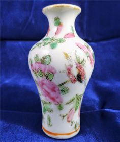 Antique Chinese Porcelain Miniature Famille Rose Baluster Vase Qing 清代 19th