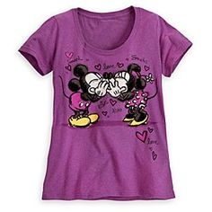 Disney Mickey and Minnie Mouse Kiss Tee for Women | Disney StoreMickey and Minnie Mouse Kiss Tee for Women - Those incurable romantics Mickey and Minnie exhibit a public display of affection on this scoop neck tee. Sharing a kiss, the sweethearts and the black flock detailing both add a soft touch to this heathered plum tee.