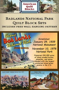 Quilt Blocks of vintage image printed on cotton. Ready to sew.  Bad Lands National Park. Single 4x6 block $4.95. Set of 4 blocks with pattern $17.95.