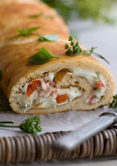 Cheese Roulade With Herbed Goats' Cheese And Grilled Red Capsicum