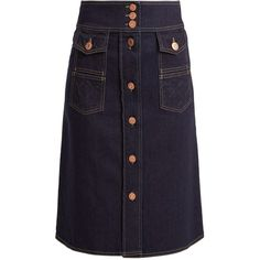 See By Chloé A-line cotton-blend denim skirt (19.185 RUB) ❤ liked on Polyvore featuring skirts, indigo, denim skirt, blue skirt, see by chloe skirt, see by chloé and pocket skirt