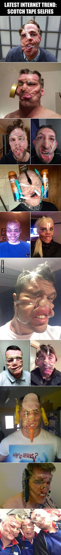 Latest internet trend - scotch tape selfies - #funny, #lol, #fun, #humor, #comics, #meme, #gag, #box, #lolpics, #Funnypics, #GagsBox,