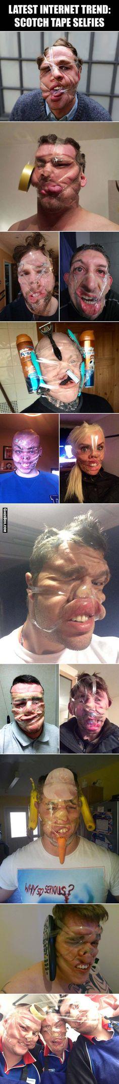 Latest internet trend - scotch tape selfies - #funny, #lol, #fun, #humor, #comics, #meme, #gag, #box, #lolpics, #Funnypics, #GagsBox,